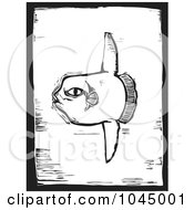 Royalty Free RF Clipart Illustration Of A Black And White Woodcut Styled Sunfish