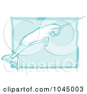 Blue Woodcut Style Design Of A Narwhal