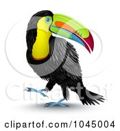Royalty Free RF Clipart Illustration Of A 3d Toucan Bird Looking Back Over Its Shoulde