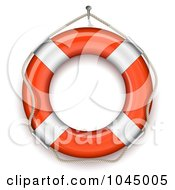 Royalty Free RF Clipart Illustration Of A 3d Rope And Life Buoy