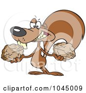 Royalty Free RF Clip Art Illustration Of A Cartoon Squirrel Holding Two Nuts by toonaday #COLLC1045009-0008