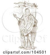 Royalty Free RF Clipart Illustration Of A Brown Sketch Of Jesus Christ With A Flag by patrimonio