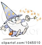 Royalty Free RF Clip Art Illustration Of A Happy Little Wizard Using His Magic Wand by gnurf