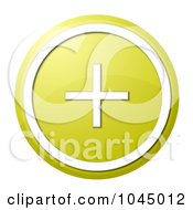 Royalty Free RF Clip Art Illustration Of A Round Yellow And White Shiny Plus Button Icon