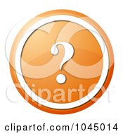 Royalty Free RF Clip Art Illustration Of A Round Orange And White Question Mark Icon Button by oboy