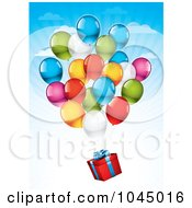 Royalty Free RF Clip Art Illustration Of Helium Party Balloons Floating A Birthday Gift In The Sky by TA Images