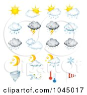 Royalty Free RF Clip Art Illustration Of A Digital Collage Of Weather Forecast Icons by TA Images #COLLC1045017-0125
