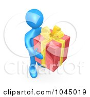 3d Rendered Blue Person Holding A Gift