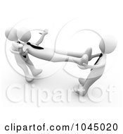 Royalty Free RF Clip Art Illustration Of 3d Rendered White Men Fighting Over An Employee