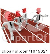 Royalty Free RF Clip Art Illustration Of 3d Rendered White Currency People Racing On A Track by 3poD