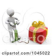 Royalty Free RF Clip Art Illustration Of A 3d Rendered White Person Blowing Up A Gift by 3poD