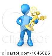 Royalty Free RF Clip Art Illustration Of A 3d Rendered Blue Person Holding A Trophy