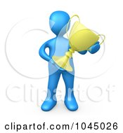 Royalty Free RF Clip Art Illustration Of A 3d Rendered Blue Person Holding A Trophy Cup