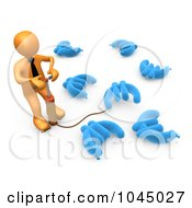Royalty Free RF Clip Art Illustration Of A 3d Rendered Orange Person Pumping Up Euros