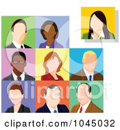 Royalty Free RF Clip Art Illustration Of A Digital Collage Of Faceless Business Men And Women Avatars
