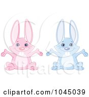 Poster, Art Print Of Digital Collage Of Cute Blue And Pink Rabbits With Open Arms