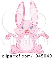Royalty Free RF Clip Art Illustration Of A Cute Pink Bunny Holding His Arms Open by yayayoyo