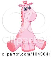 Royalty Free RF Clip Art Illustration Of A Cute Pink Baby Giraffe