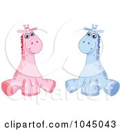 Digital Collage Of Cute Pink And Blue Baby Giraffes