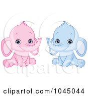 Digital Collage Of Cute Pink And Blue Baby Elephants