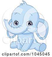 Royalty Free RF Clip Art Illustration Of A Cute Bue Baby Elephant by yayayoyo #COLLC1045045-0157