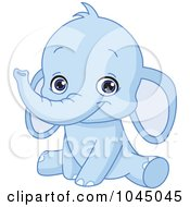 Royalty Free RF Clip Art Illustration Of A Cute Bue Baby Elephant