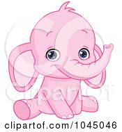 Royalty Free RF Clip Art Illustration Of A Cute Pink Baby Elephant