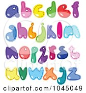 Royalty Free RF Clip Art Illustration Of A Digital Collage Of Colorful Lowercase Alphabet Letters