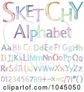 Royalty Free RF Clip Art Illustration Of A Digital Collage Of Colorful Sketched Alphabet Letters And Numbers