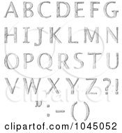 Royalty Free RF Clip Art Illustration Of A Digital Collage Of Sketched Capital Alphabet Letters