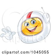 Royalty Free RF Clip Art Illustration Of A Waving Emoticon Astronaut