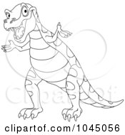 Royalty Free RF Clip Art Illustration Of A Coloring Page Outline Of A Cute Tyrannosaurus Rex