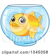 Cute Goldfish In A Glass Bowl