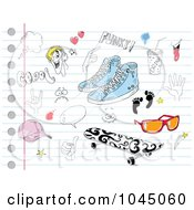 Royalty Free RF Clip Art Illustration Of A Digital Collage Of Shoes Skateboard Sunglasses And Other Doodles On Ruled Paper