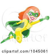 Royalty Free RF Clip Art Illustration Of A Super Hero Woman Flying by yayayoyo