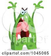 Royalty Free RF Clip Art Illustration Of An Angry Green Monster by yayayoyo