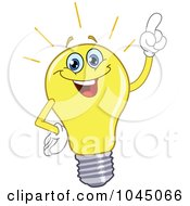 Royalty Free RF Clip Art Illustration Of A Light Bulb Character Holding A Finger Up