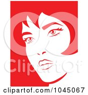 Royalty Free RF Clip Art Illustration Of A Red And Off White Womans Face