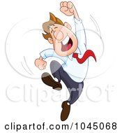 Royalty Free RF Clip Art Illustration Of A Happy Businessman Leaping With One Arm In The Air