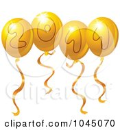 Royalty Free RF Clip Art Illustration Of Golden 2011 New Year Balloons