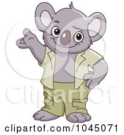 Royalty Free RF Clip Art Illustration Of A Friendly Koala Standing And Presenting by yayayoyo
