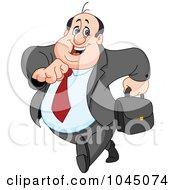 Royalty Free RF Clip Art Illustration Of A Happy Businessman Running