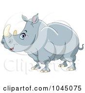 Royalty Free RF Clip Art Illustration Of A Big Rhino In Profile by yayayoyo