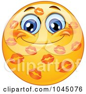 Royalty Free RF Clip Art Illustration Of A Grinning Emoticon Covered In Lipstick Kisses