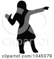 Black Silhouetted Native American Woman Pointing