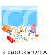 Royalty Free RF Clipart Illustration Of A Childrens Play Area With Art And Camping Gear