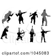 Royalty-Free (RF) Clip Art Illustration of a Digital Collage Of Black Native American Silhouettes by JR #COLLC1045083-0123
