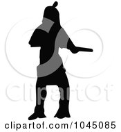 Royalty-Free (RF) Clip Art Illustration of a Black Silhouetted Native American - 2 by JR #COLLC1045085-0123