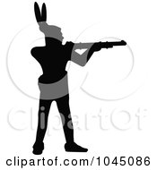 Royalty-Free (RF) Clip Art Illustration of a Black Silhouetted Native American Using A Gun by JR #COLLC1045086-0123