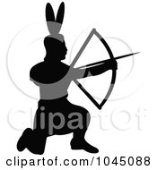 Royalty-Free (RF) Clip Art Illustration of a Black Silhouetted Native American Using A Bow by JR #COLLC1045088-0123